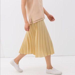 Zara pleated gold metallic midi skirt